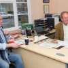 Chris Lewis & Hugh Thomas relax in the Badminton Horse Trials Office