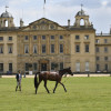 Astier Nicolas getting straight down to business, lunging Piaf de B'Neville in front of Badminton House