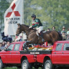 Badminton in 2000 Rodney Powell riding Flintstone over the Mitsubishi Pick-Ups
