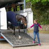 Izzy Taylor's Allercombe Ellie being unloaded for the vet check