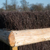 A close up of the craftsmanship needed in creating a bullfinch fence