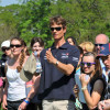 William Fox-Pitt shows spectators the line he will ride