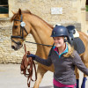Clare Abbott & Euro Prince back from a lunging session.