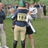 A hug for Polly Stockton whose little boy wears matching colours