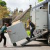 Sara Algotsson Ostholt and husband Frank unload the lorry