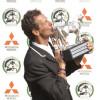 Mark kissing his 2011 Mitsubishi Motors Badminton Horse Trials Trophy