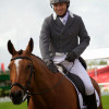 Sam Griffiths smiles after his dressage test