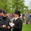 Sarah Bullimore talking to dressage trainer Tracey Robinson