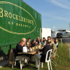 The Brocklehurst team have breakfast in the sun