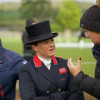 Pippa Funnell analyses her dressage test with her trainer.