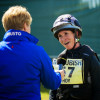 Bettina Hoy shares a joke with Clare Balding after finishing cross country on Designer 10.