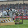 Mark Todd and NZB Land Vision over the first and heading out XC