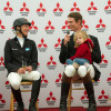 William Fox-Pitt with his  daughter and Ingrid Klimke in the press conference
