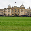 A huge crowd collects for the trot up in front of Badminton House
