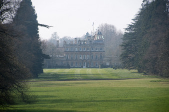 The view down to Badminton House from the Hildon Water Pond complex