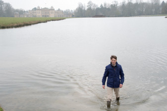 Harry manages not to fall in the water - it was a cold day for hours of filming!