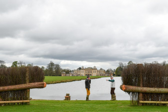 Eric and Alec at the Lake - with the fantastic backdrop of Badminton House
