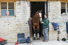 'Glengarnock' preparing for his first ride on Badminton soil