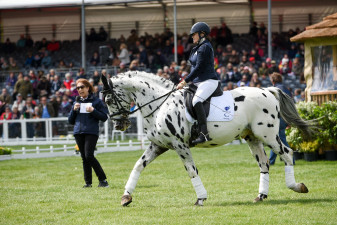 Ann Dunham circling Pammy Hutton during the dressage display