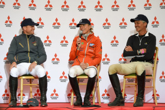 Over-night leader, Ingrid Klimke has a giggle with Jung and Nicholson at the press conference