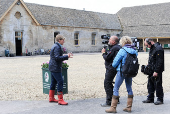 Clare Balding shooting down by the stables