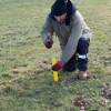 Harry Verney pegs the spot for the  fibre optic cable