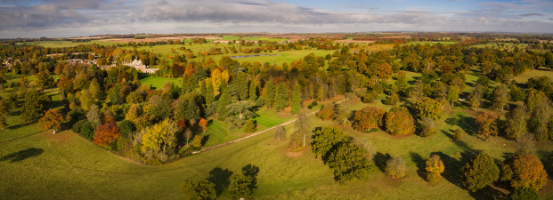 Pano view of Badminton in autumn