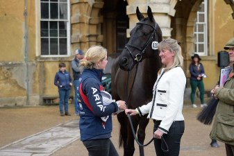 Nicola Wilson looking thrilled after Bulana flew through the first horse inspection