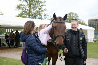 Joseph Murphy's daughter Daisy gives a huge pat to her pal, Frankie (Sportsfield Othello)