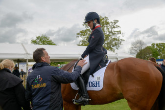 Ian Woodhead congratulates Laura Collett on a magnificent test