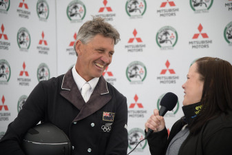 Andrew Nicholson finding the funny side after his dressage test