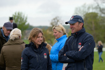 Liz Brown and Dickie Waygood have a chat after several British pairs complete their tests