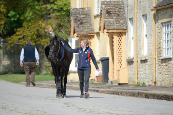 Bulana is led to the stables by Nicola Wilson's groom Ruth