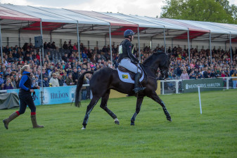 Overnight leaders, Oliver Townend and Cillnabradden Evo enter the main arena