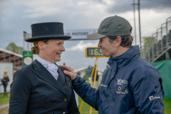 Francis Whittington chats with Katie Preston after her test
