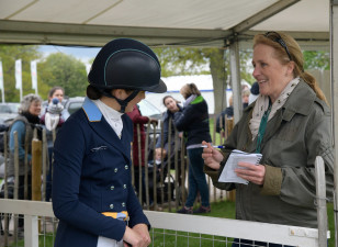 Louise Romaike talking through her test with Hilary Manners
