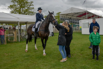 Harelaw Wizard is checked over after his dressage test