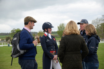 Nicola Wilson with husband, Alistair after her dressage test