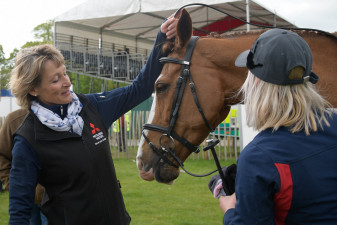 Mary King giving Dargun a fuss after his test with Emily King