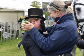 Tracie Robinson congratulates an emotional Kitty King after a storming test