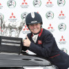 Thumbs up from Piggy French as she picks up the Mitsubishi Motors Trophy at Badminton Horse Trials