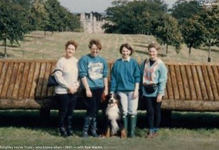 Mary Lloyd with my gorgeous Bernese Mountain dog Jazz and friends 199 something