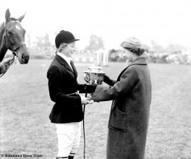 1957 Sheila Willcox on High and Mighty presented by HM the Queen