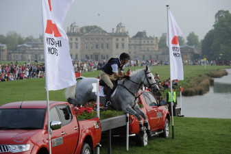 2011 Mark Todd NZL riding NZB Land Vision jump the famous Mitsubishi Pickups