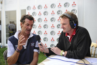 2011 Mark Todd being interviewed by Rupert Bell following his  cross country lead at Badminton