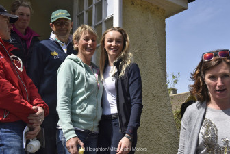 Mary and Emily King leave the riders' briefing in Badminton Village Hall