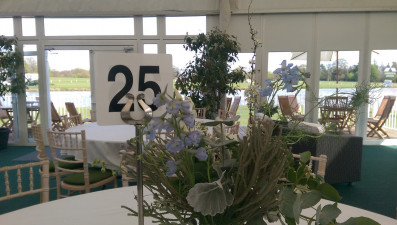 Table 25 in the lakeside Mitsubishi Motors Badminton Hospitality Suite in 2016