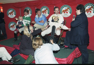 1997 Press conference after the cross country with Press Officer Julian Seaman interviewing Ian Stark, the eventual winner David O'Connor and Mary King (with daughter Emily on her lap)