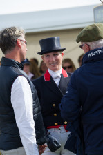 Zara Tindall talks to trainer Carl Hester