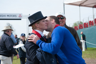 Peter Phillips congratulates his sister Zara Tindall